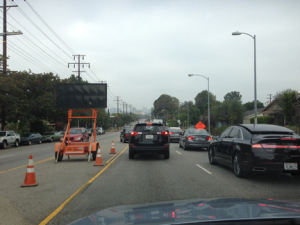 Lane closure on Overland